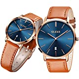 Pair Watches for Couples Men and Women His and Hers Watch Set Husband Wife Valentines Matching Wrist Watch Wedding Gifts Waterproof Business Fashion Thin Quartz Analog OLEVS