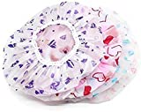 CHEM-AB ENTEREPIRSE® Set of 3Pc Reusable Printed Shower Cap With Elastic Band For Home Use/Salons/Spa/Hair treatment/Beauty Parlours For Both Men And Women Bathing Accessory-Multi Color