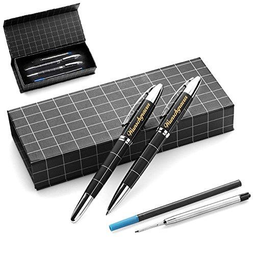 polar-effekt Kugelschreiber Schreibset-Set Gravur - Drehkugelschreiber blauschreibend mit Geschenk Etui zum Geburtstag - Farbe schwarz