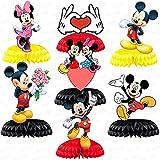 Figuras de Mickey Decoraciones para tartas, 7PCS Minnie Honeycomb Decoración de...