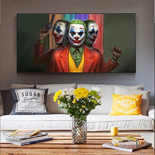 KWzEQ Filmclown Leinwand Malerei Comic Wandkunst Clown Dekoration Familienbild Filmplakat40X70cmRahmenlose Malerei