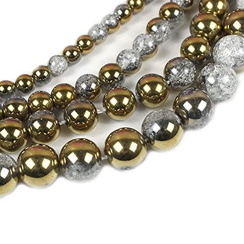 Bigbarry Lujoso Un Lado Oro Blanco Nieve Agrietada Cristal Piedra Natural Perlas Sueltas para joyería Haciendo Bricolaje Pulsera Pendiente Collar Liso (Item Diameter : 10mm 38pcs Beads)