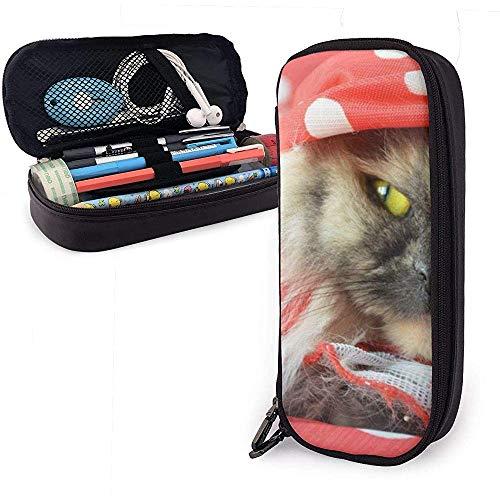 Federmäppchen Katze trägt Pyjama PU-Leder Beutel Aufbewahrungstaschen tragbare Bleistiftbeutel Reißverschluss Geldbörsen