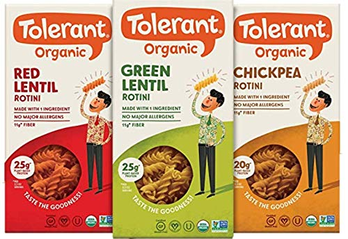 Tolerant Organic Gluten Free Rotini Pasta Variety Pack (Green Lentil, Red Lentil, Chickpea), 8oz - Case of 3, Plant Based Protein, Vegan Pasta, Single Ingredient Protein Pasta, Whole Food, Clean Pasta