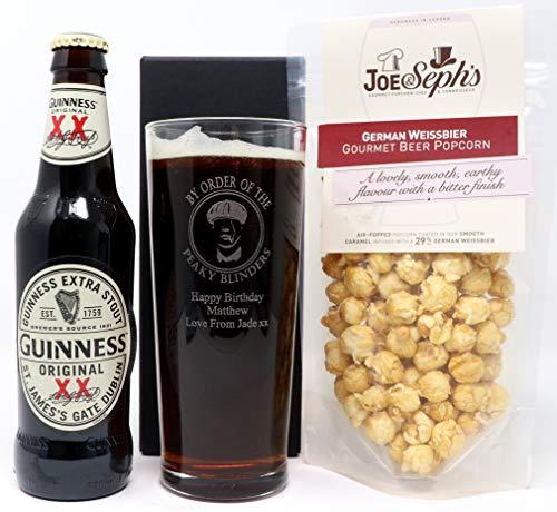 Personalised Pint Glass & Bottle of Guinness & Popcorn - Peaky Blinders Design