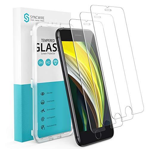 """Syncwire Verre Trempé pour iPhone SE 2020 (4.7"""") [Lot de 3] avec Cadre d'installation et Kits, Film Protection Ecran Vitre HD Dureté 9H, sans Bulles, 3D-Touch, Incassable pour iPhone SE 2020"""