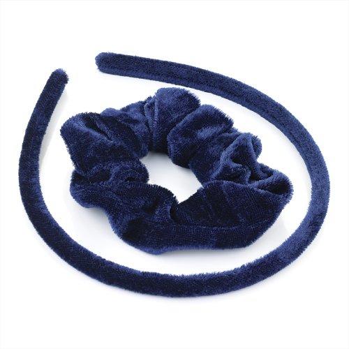 Set Cheveux en velours – Bleu Marine recouvert Tissu Alice bande cheveux et Chouchou de