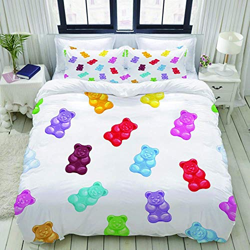 Nonun Duvet Cover,Colorful Gummy Bears Candies,Bedding Set Ultra Comfy Lightweight Luxury Polyster Quilt Cover Sets (3pcs)