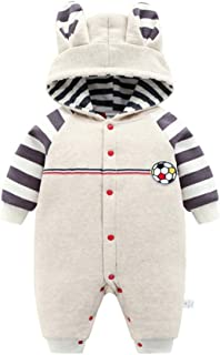 ALLAIBB Newborn Baby Warm Winter Romper Thick Jumpsuit Cute Snowsuit Outwear Size 12M (Beige)