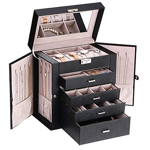 ANWBROAD Caja de joyería con cajones extraíbles para mujer, organizador de joyas grande de diferentes maneras para todas tus joyas, resistente estuche de joyería JJB003B