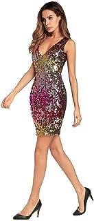 エレガントな女性のドレス レディースノースリーブディープVネックスパンコールグリッターボディコンストレッチミニパーティードレスカクテルイブニングパーティークラブウェアドレス 快適な (色 : 赤, サイズ : XL)