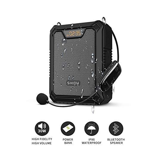 Sprachverstärker, SHIDU 30W Sprachlautsprecher Tragbarer Bluetooth-Lautsprecher mit drahtlosem UHF Mikrofon und kabelgebundenem Mikrofon IPX6 Wasserdichtes wiederaufladbares PA-System Power Bank