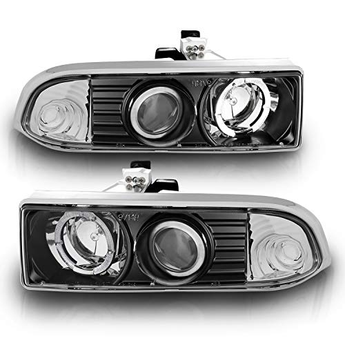 AmeriLite Black Projector Replacement Headlights LED Halo Set for Chevy S10 /Blazer - Passenger and Driver Side