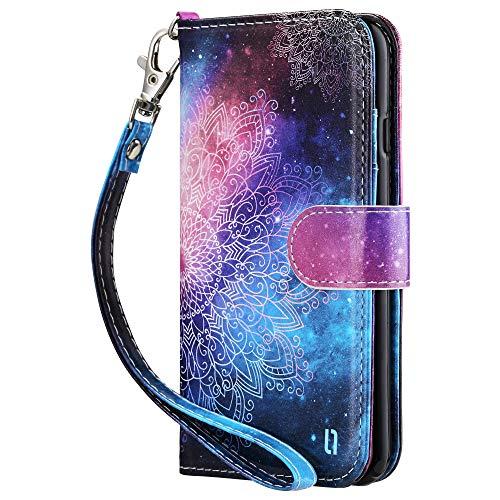 ULAK iPhone SE 2020 Hülle, iPhone 7/8 Stylische Lederhülle Flip Cover Brieftasche Schutzhülle Tasche Handyhülle Magnet Standfunktion mit Kartenfach Hülle für iPhone 7/8/SE 2(2020) - Mandala Blumen