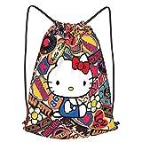 Fashion Anime Cartoon Hello Kitty Drawstring Backpack Bag Outdoor Beach Gym Yoga Sport Strap Pack Sackpack(14 ,Small )