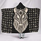 Festhad Norse Viking Fenrir Wolf Valknut Dragon Knot Totem Print Hooded Blankets Cozy Cuddly Warm Winter Fleece Hood Poncho Cloak Cape for Women Men Child Snuggling Sofa Bedding White 60x80 inch