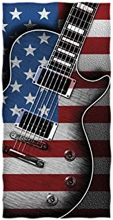 Dawhud Direct American Flag Guitar Beach/Shower Towel