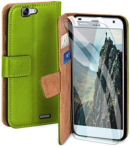 moex Handyhülle für Huawei Ascend G7 - Hülle mit Kartenfach, Geldfach & Ständer, Klapphülle, PU Leder Book Hülle & Schutzfolie - Grün