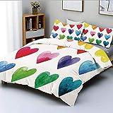 Juego de funda nórdica, formas de corazón de color arcoíris en acuarelas dibujadas a mano con una linda ilustración romántica Juego de cama decorativo de 3 piezas con 2 fundas de almohada, multicolor,