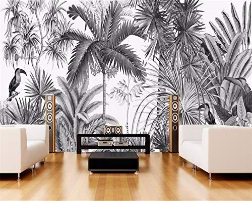 Carta da parati personalizzata Carta da parati vintage in bianco e nero a mano in bianco e nero Carta da parati Jungle Mural TV sfondo muro, 400x280cm