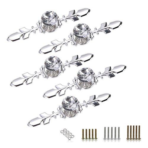 Btsky - Maniglie per cassetti a forma di diamante, in cristallo, placcate in argento; per credenze, guardaroba, cassetti; fornite di viti; in confezione da 5, Vetro Lega di zinco cristallo, 120 mm