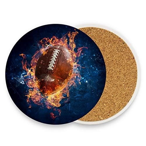 Keramik-Untersetzer für Getränke, saugfähig, American Football Game Fire Korkuntersetzer Set von 4 Einweihungsgeschenken, Kaffee-Untersetzer, Heimtischdekoration