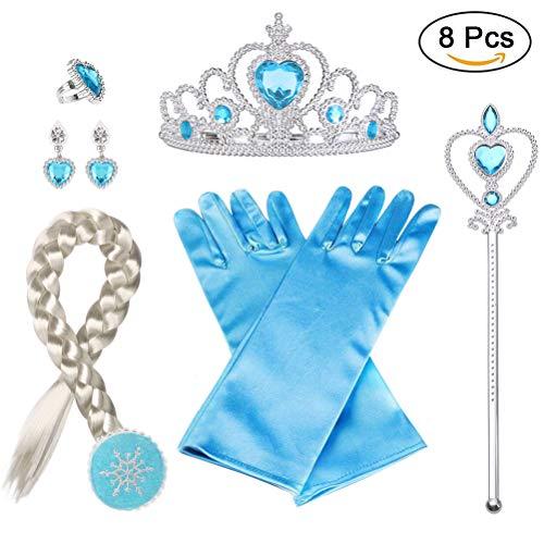 Vicloon 8pcs Princesa Accesorios Conjunto Trenza/Corona/