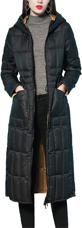 Michealboy Fashion Reversible Women's Long Lodge Slim Hooded Down Parka Jacket