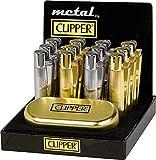 Clipper 1 Encendedor Mechero Clásico Largo Metal Oro y Plateado