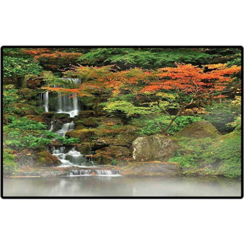 RenteriaDecor Front Doormat Lake House Decor Wild Small Cascade Pouring Over Steep Stones Peaceful Fall Motion Scene Doormat Washable Porch Kitchen Area Rugs 36x24