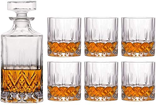 Whiskey glassPremium Whiskey Carafe Set Unleaded 4 Complex Glasses Set 100% Transparent Lead-Free Crystal Glass bar for Whisky Scotch Whisky Bourbon Whisky Rum in Gift Boxes-02 SkyMdns
