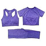 SJYM Conjunto de Yoga sin Costuras para Mujer Camisas de Entrenamiento Pantalones Deportivos Sujetador Ropa de Short de Cintura Alta Leggings para Correr Deportivo,3 Piezas Short Purple, M