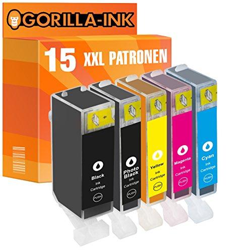 Gorilla de Ink 15cartuchos de tinta XXL compatible para Canon PGI-525XL CLI-526XL PIXMA MG 5250, MG 5350MG 6100IP 4800IP 4820IP 4840IP 4850