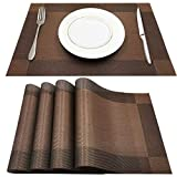 youcoulee Placemats for Dining Table, Table Mats Set of 4 Heat Insulation Stain Resistant Non-Slip PVC Place Mats, Durable Washable Cross Weave Woven Vinyl Placemat Coffee-1