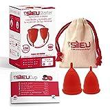 Copa Menstrual Sileu Cup Soft - Ayuda prevenir infecciones urinarias, cistitis, vejigas sensibles, calambres, cólicos menstruales - Disminuye dolor causado por menstruación - Talla S + L, Rojo