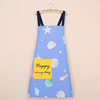 YXDZ (2 Pieces Fashion Kitchen Gown Cross Strap Cotton Apron Home Waterproof Apron Overalls Cute Apron Small Shell