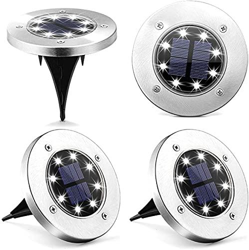 VOTUENIX Solar Bodenleuchten Gartenleuchte 8 LEDs, Solarleuchten für Außen, IP65 Wasserdicht LED Einbaustrahler Bodenleuchte für Rasen Auffahrt Gehweg Patio Garden, Kaltweiß 4er Pack