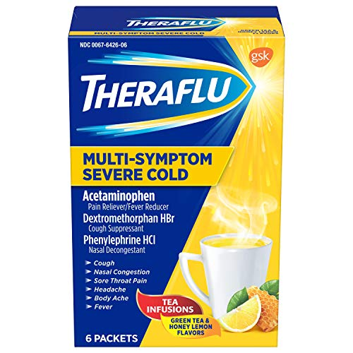 TheraFlu Multi Symptom Severe Cold with Lipton Green Tea and Honey, 6 Count