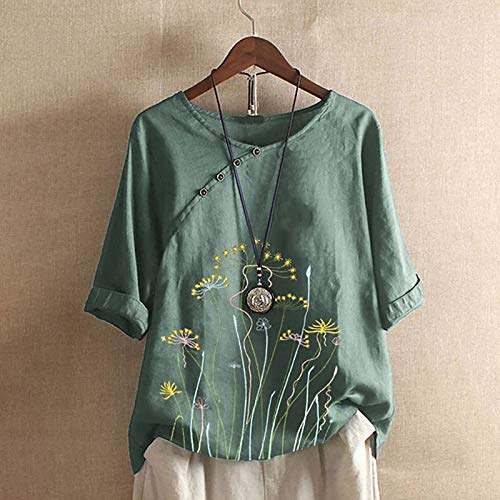 Camisas de mujer Blusas tallas grandes, casual cuello en O impreso botón suelto túnica camisa VintageTops Qipao