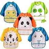 HaimoBurg Pack de 5 Baberos Impermeable PEVA de Manga Larga Para Bebé Niños...