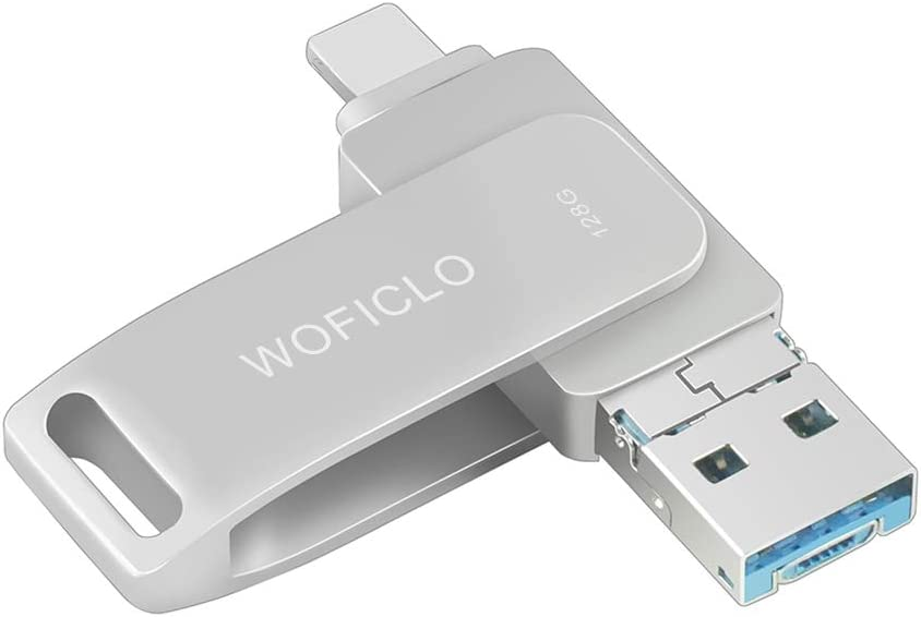 Flash Drive for Phone Memory Stick128gb WOFICLO USB Drive Photo-Stick External Storage Compatible Phone/Pad/Android/Mac/PC (128GB, Gray)