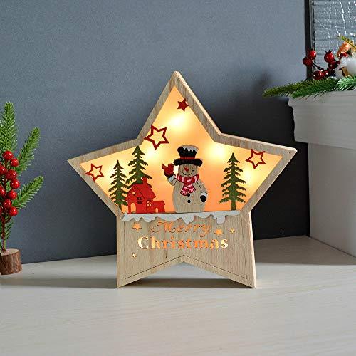 Decoraciones navideñas Regalos Luces de estrellas Luces LED Muebles para el hogar Estrellas de madera Papá Noel Muñeco de nieve Elk Iluminación