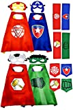 Children Cartoon Satin Superhero Cloak, Children's Day Gift for Kids Mask Wrist Band and Belt Matching Closer to The Hero, 4 Kinds of Superhero Capes Boy and Girl Party Birthday Gift