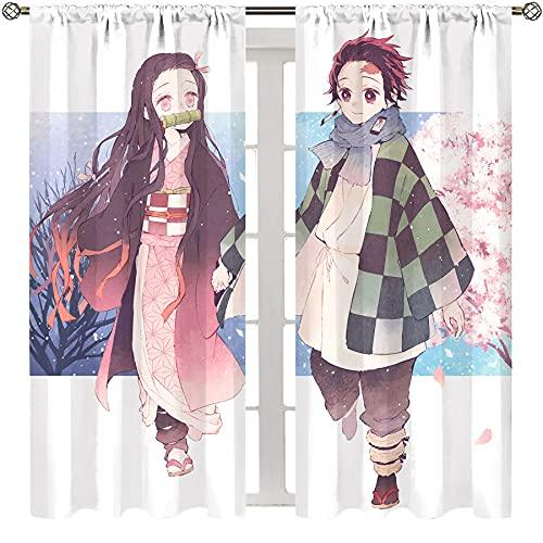 Art Stampato Salotto Camera Da Letto Tende Anime Demone Slayer Poster Kamado Tanjirou e Kamado Nezuko Decorazioni per la Casa Asta Tasca Tenda W100xL150 Pollici