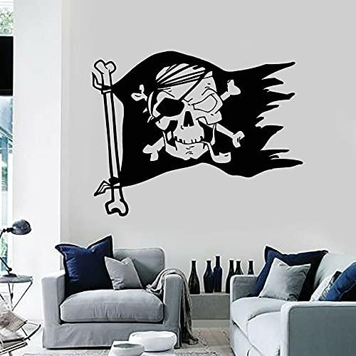 Bandiera pirata Morte Testa di teschio Logo Simboli Banditi marini Stile cool Adesivo da parete in vinile Adesivo per auto Ragazzo Camera da letto Soggiorno Studio Ufficio Decorazioni per la
