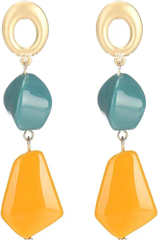 YCHH Big Irregular Acrylic Handmade Boho Statement Clip On Earrings for Charm Woman Non Pierced Ear Clips Jewelry