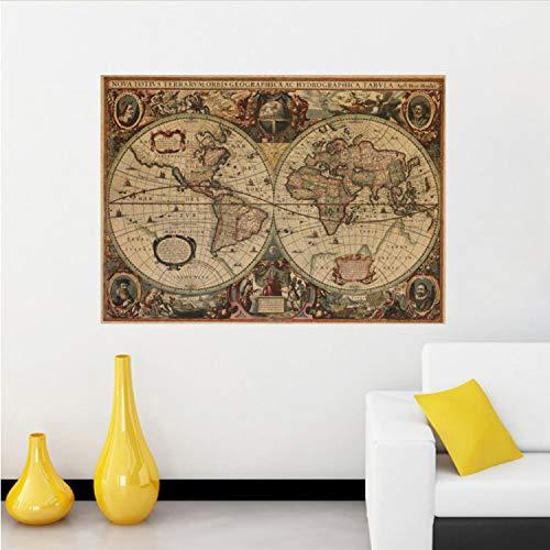 libby-nice Mapa Retro Cartel Antiguo Mapa De Navegación En El Mapa del Mundo Barra De Sala De Estar Papel Kraft Pegatinas Pinturas Murales