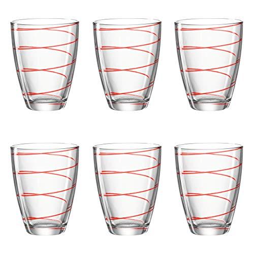 Montana 057343 Jolly Lot de 6 gobelets en verre transparent passant au lave-vaisselle Rouge Hauteur 11 cm 350 ml