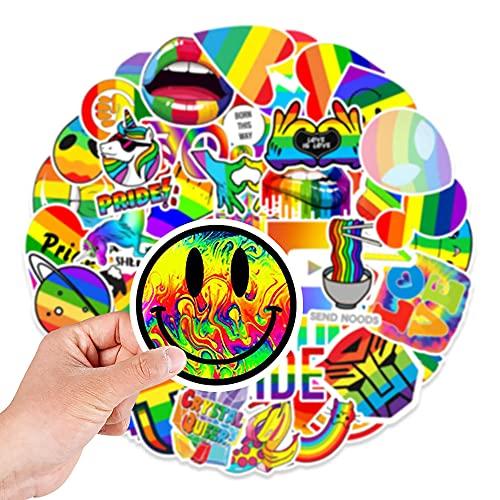 100 pegatinas de vinilo impermeables de colores arcoíris para LGBT, fiesta del orgullo gay, botellas de agua, computadora portátil, teléfono, coche, bicicleta, tableta, paquete de calcomanías de moda