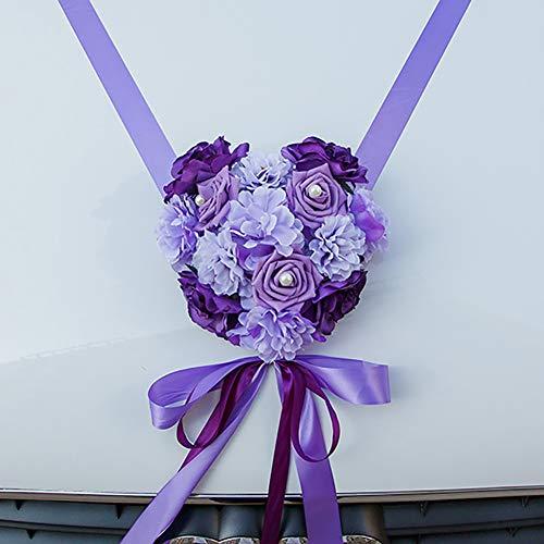 ACHICOO Künstliche Hochzeitsblumen, Auto-Dekoration, DIY, Seidenblumen, Valentinstag, künstliche Blumen, Hochzeitskranz, doppelt, lila für den Heimgebrauch